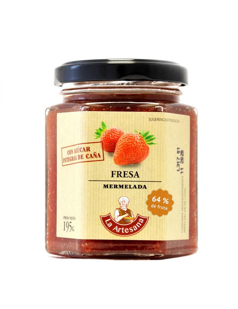 Mermelada de fresa con azúcar integral de caña